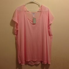 Forever 21 NWT Pink sheer shirt ! New with tags :) Forever 21 Tops Tees - Short Sleeve