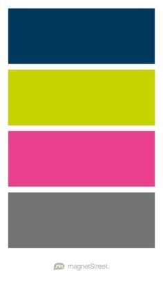 Navy, Chartreuse, Azalea, and Charcoal Wedding Color Palette - custom color palette created at MagnetStreet.com