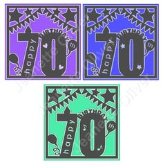 Set of 2 70th birthday toppers PLUS a bonus 3rd FREE topper SVG Digital Cutting Files by CraftaholicCreation on Etsy