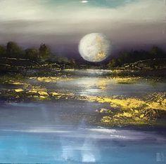 """Linzy Arnott - Let's Go Moonlighting - resin on panel - 8"""" x 8"""""""