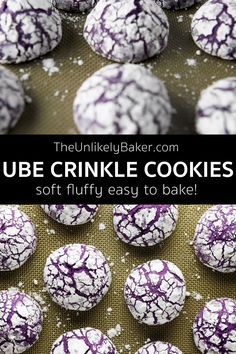 Ube crinkles are soft, fluffy and bursting with the ube flavour you love. They are like mini ube cakes and will stand out in your holiday cookie tray for sure. Perfect for your cookie exchange and to give out for Christmas too! #easyrecipe #baking #cookierecipe #uberecipe #filipinorecipe #filipinocuisine #ubecrinkles
