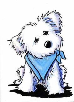 Maltese in Blue Bandana - by KiniArt from Available ACEO Art