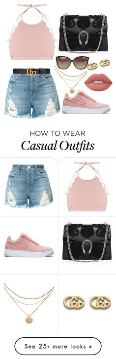"""""""Casual Summer Style"""" by yarianlsp on Polyvore featuring J Brand, Marysia Swim, Gucci, NIKE, Linda Farrow and Lime Crime"""