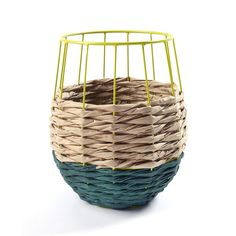 Brazil basket by Serax in colorful woven paper around a painted metal structure. Decoration and contemporary furniture in Paris.