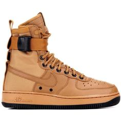 Nike Nike Special Field Air Force 1 Sneaker Boots ($180) ❤ liked on Polyvore featuring shoes, brown shoes, nike, nike footwear and nike shoes