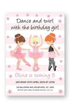 Ballerina birthday invitation printable, girl birthday party ideas, ballet invitations, dancing invites from Pink Summer Designs on Etsy