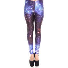 blue dark brown galaxy print elastic waist skinny leggings (€17) ❤ liked on Polyvore featuring pants, leggings, galaxy, bluedarkbrown, blue pants, white pants, space print leggings, white trousers and blue leggings
