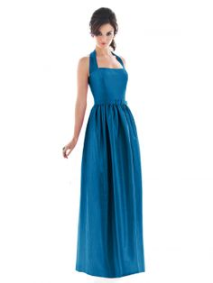 Full length halter neck dupioni dress w/ matching skinny belt and pockets at side seams of full skirt. Also available cocktail length as style D480.