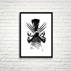 The Wolverine Poster X-men black and white Watercolor digital Print Fine Art Marvel Comics X-man Poster Movie Poster Wall Decor Art *87* by Artvintagedecor on Etsy https://www.etsy.com/uk/listing/266766120/the-wolverine-poster-x-men-black-and