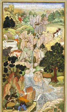The Anwar-i-Suhaili, written by Hussain Ali Waiz, is a Persian version of the Panchatantra. [Fisherman Catches an Exceptional Fish]. Present Location: Varanasi (Banaras), Banaras Hindu University, Bharat Kala Bhavan.  Location: India, c.1596