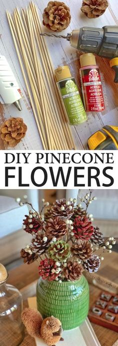 Looking for DIY pinecone crafts to make? Learn how to make these easy painted pinecone flowers with skewer stems! They look charming in a vase for fall, Christmas or any occasion. Diy Crafts For Adults, Adult Crafts, Upcycled Crafts, Diy Crafts For Kids, Easy Crafts, Pine Cone Crafts For Kids, Kids Diy, Craft Ideas, Easy Adult Craft