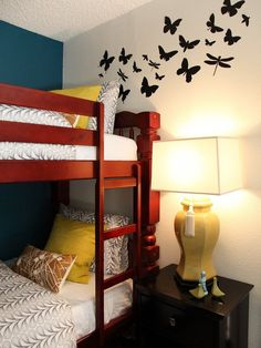 Modern Bunk Beds and wall decals for a stylish college dorm room