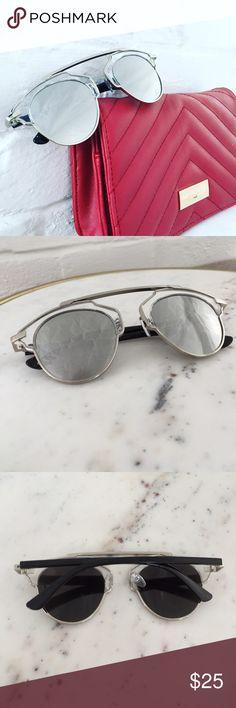 """""""Ellie"""" Sunglasses    Clear & Silver Mirror Description to come. Accessories Sunglasses"""