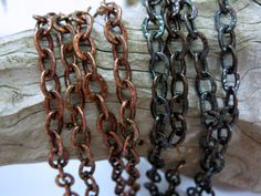 Oxidized COPPER Chain, 6mm OVAL CABLE, Bulk Chain, 6 to 60 Inches. Your choice of light oxidized or dark oxidized patina applied to this 6mm oval link solid copper chain. The links are soldered and have a hammered texture. Sturdy and great for bracelets or necklaces, and yet this chain has wonderful drape.