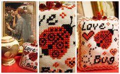 Stitcheree!: Love Bug free pattern.   I stitched one like this.   I still need to turn it into a little valentine ornament.