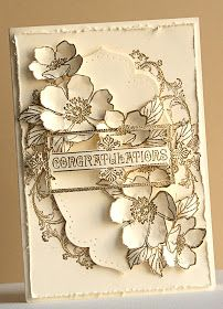 Stampin' Up Fabulous Florets, Apothecary Accents framelits, gold embossing, Lovely card!