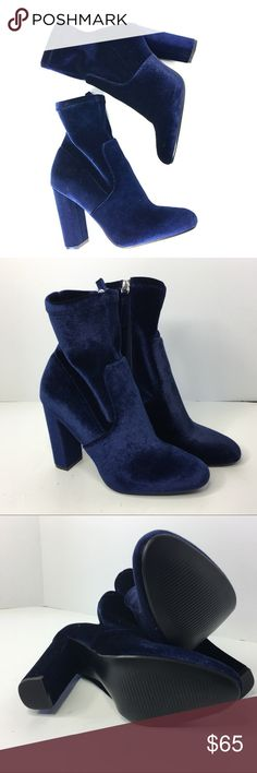 STEVE MADDEN blue velour boots BRAND NEW, never worn. STEVE MADDEN blue velour boots. SIZE: women's 7.5, fits true to size. Nice fit on ankle. Retails for $90 Steve Madden Shoes Heeled Boots