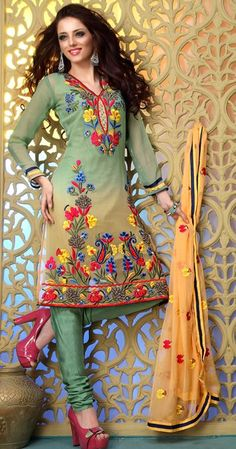 $63.7 Green Thread Work Faux Georgette Churidar Salwar Kameez 23443