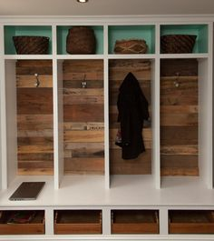 Do something like this for Mudroom with shelves at bottom for shoes and doors at top for things (phones, purses, gloves, hats, wallets, etc.)