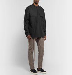 Fear Of God Oversized Grandad-collar Supima Cotton-poplin Half-placket Shirt In Black Vans Sneakers, Poplin, Work Wear, Khaki Pants, Bomber Jacket, Mens Fashion, God, T Shirt, Cotton
