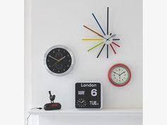 FLAP WHITES Plastic Small analogue city wall clock - HabitatUK