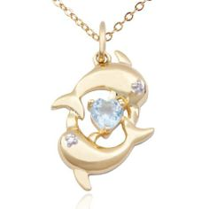"18k Yellow Gold Plated Sterling Silver Blue Topaz and Diamond Accent Dolphins and Heart Pendant Necklace, 18"" Amazon Curated Collection. $29.00. Made in China. Blue Topaz is December?s birthstone.. Gemstones may have been treated to improve their appearance or durability and may require special care."