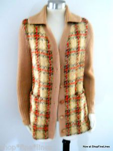 Treas Ni Riain1950s Irish Tweed and Knit Cardigan Sweater Jacket Medium Pockets