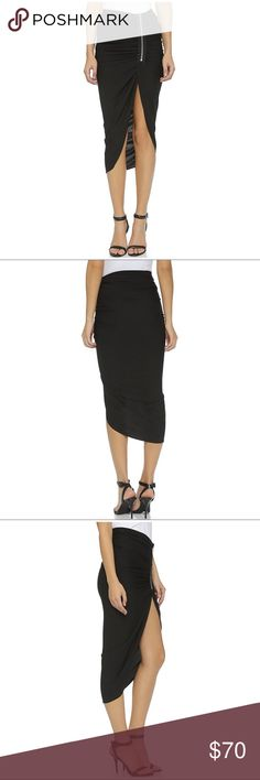 """Bailey 44 Harlequin Asymmetrical Ruched Skirt Bailey 44 Black Harlequin Asymmetrical Ruched Skirt Statement Zipper Sze Medium  Details: style: harlequin skirt high low asymmetrical design large statement zipper ruched detail near zipper Item #E6  Measurements: (approximate) Across top: 15"""" Length: 14""""/40""""  Condition: Excellent condition with no flaws Bailey 44 Skirts High Low"""