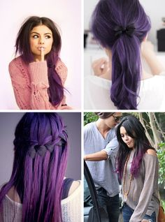 2015 Hairstyles and Hair Color Trends purple-black hair colors Dark Purple Hair Color, Hair Color For Black Hair, Dark Hair, Purple Ombre, Black Ombre, Purple Tips, Brown Hair, Blue Hair, 2015 Hair Color Trends