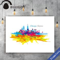 Unframed Canvas print Hand Paint watercolor colorful Chicago Skyline poster picture wall art Watercolor Art Paintings, Chicago Skyline, Poster Pictures, Picture Wall, Canvas Prints, Hand Painted, Colorful, Wall Art, Frame