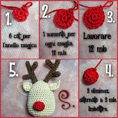 Tutorial 4^ passo renna Rudolph amigurumi crochet uncinetto natalizio. Il naso.