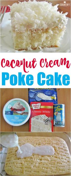 Coconut Cream Poke Cake recipe from The Country Cook
