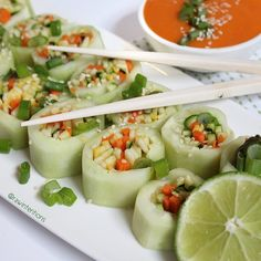Cucumber Rolls with Spicy Dipping Sauce (raw, vegan)