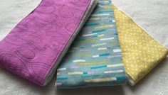 Set of 3 Burp Cloths made with Birdseye cotton by LexieLooo