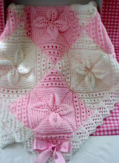 Baby Girl Handmade Knitted Blanket by AvaGraceDesignsUK on Etsy