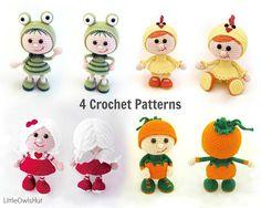 4 dolls. Amigurumi Crochet Patterns - 4 Pdf files by Stelmakhova Etsy