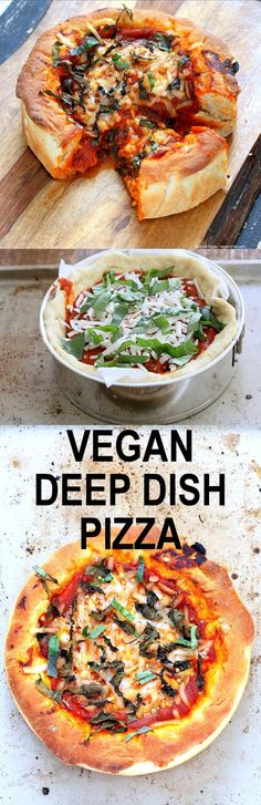 Vegan Deep Dish Pizza Recipe. Easy Deep Dish Pizza with from scratch crust, red pepper, spinach, vegan mozzarella and basil. Vegan Pizza Recipe with homemade 20 Minute Deep Dish Pizza Crust, almost no knead | http://VeganRicha.com