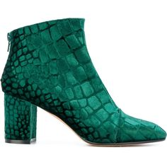 Jean-Michel Cazabat printed round toe booties (8.166.685 IDR) ❤ liked on Polyvore featuring shoes, boots, ankle booties, green, round toe ankle booties, round toe booties, green boots, back zipper boots and block heel booties