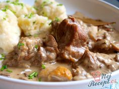 Czech Recipes, Ethnic Recipes, Mashed Potatoes, Beef, Homemade, Dishes, Czech Food, Anna, Snacks