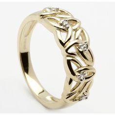10k Yellow Gold Trinity Knot & CZ Celtic Ring