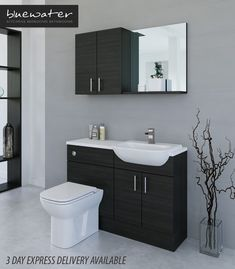 Hacienda Black Bathroom Fitted Furniture 1200mm With Wall · $745.00 Fitted Bathroom Furniture, Furniture Deals, Fitness, Wall, Black, Style, Swag, Black People, Walls