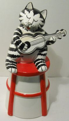 KLIBAN CAT Cookie Treat Jar Ceramic Playing Guitar 80's Sigma Tastesetter picclick.com
