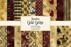 Gold Gothic Digital Paper (Graphic) by Digital Curio · Creative Fabrica Graphic Patterns, Star Patterns, Harlequin Pattern, Geometric Fabric, Wedding Props, Steampunk Design, Digital Backgrounds, Gothic Wedding, Party Props