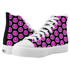 Kiss Me Patterned (Black High Top) High-Top Sneakers #beebeedeigner #art #design #fashion #fashionista #sneakers #sneakerfashion #sneakerlovers #fashionforall #zazzle #zazzlemade