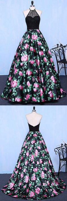 Ball Gown Halter Prom Dresses, Satin Tulle Prom Ball Gowns,Sweep Train with Beading Formal Evening Party Dresses