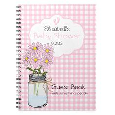 Gingham-Mason Jar- Baby Shower Guest Book- Spiral Note Book
