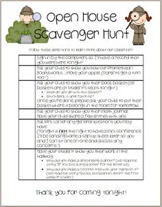 Open House Scavenger Hunt - I kind of like this for meet the teacher night - I… Kindergarten Classroom, School Classroom, Classroom Ideas, Beginning Of The School Year, First Day Of School, Parent Open House, Kindergarten Registration, Open House Night, Curriculum Night