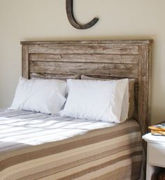 a barnboard headboard could replace my desire for wrought iron if i could find one like this...