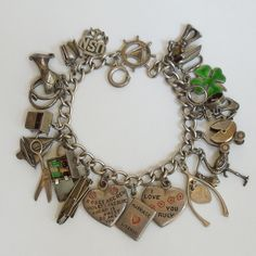 Vintage Sterling Silver 1940s Sweetheart Charm Bracelet - Bill and Goldie, a Love Story - 21 Charms..