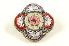Cabootle - Vintage Italian Micro Mosaic Millefiori Brooch circa 1940s, $100.00 (http://www.cabootle.com/products/slayleigh-james-estate/brooches-pins/vintage-italian-micro-mosaic-millefiori-brooch-circa-1940s/)